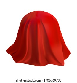 Red piece of fabric on a round sphere. 3 d mockup for design. Silk with hanging waves. Vector illustration.