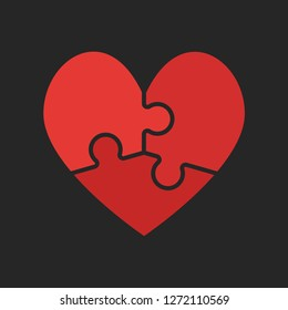 Red pieces puzzle of romantic heart. Icon, logotype, logo vector puzzle illustration. Jigsaw on Valentine Day. Love, medical, relationship symbol. Autism awareness. Three slices, pieces parts heart.