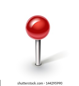red pin isolated on white background
