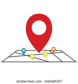 a red pin map place location icon. - illustration flat design on white background for your location pin marker, pointer and destination label element design.