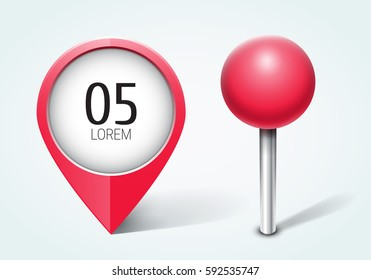 Red pin / Map pointer / Location  icon. Concept of route, landmark, adventure, explore. Vector illustration.