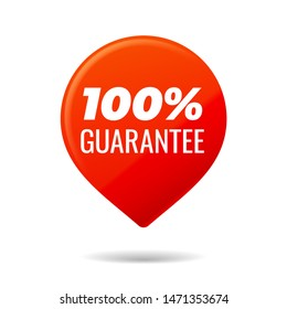Red Pin on white background. 100 percent guarantee