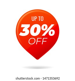 Red Pin on white background, up to 30 percent off - Vector Illustration