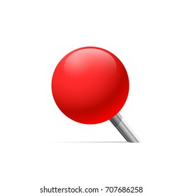Red pin in perspective. Vector illustration.
