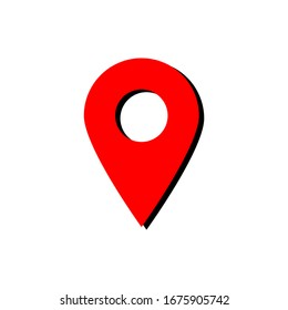 red pin point icon. map location symbol isolated on white background. vector illustration