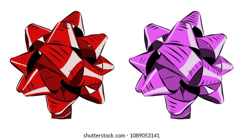 Red and pink bow, vector illustration