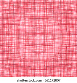 Red pink fabric with stripes, burlap, quilting, imitation natural fibers hand art work