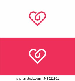 red pink heart logo icon template design.
