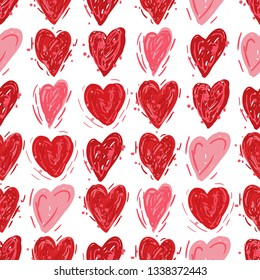 Red and pink hearts. Vector seamless pattern. Valentines day background. Fabric swatch or wrapping paper. Modern stylish texture. Good for wedding design