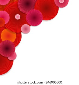 Red and Pink Japanese Umbrellas. Abstract Background with Red and Pink Circles. Bright Vector Circles.