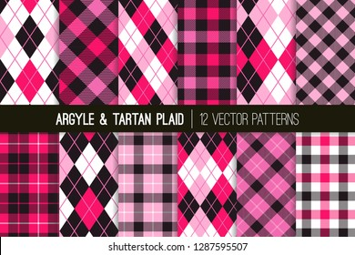 Red, Pink, Lilac, Black and White Argyle and Tartan Plaid Vector Patterns. Valentine's Day Backgrounds. Preppy Fashion Prints. High School Uniform Style. Repeating Tile Swatches Included.