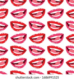 Red and pink lips seamless pattern, vector illustration.