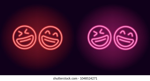 Red and pink neon laughing emoji, fool day. Vector silhouette of neon pair emoji with smile consisting of outlines, with backlight on the dark background