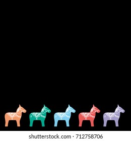 Red pink orange blue lilac Dalecarlian Dala horse traditional painted wooden horse statuette originating in Swedish province Dalarna. card banner design for text on black background. Vector