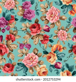 red pink orange and violet vector flowers with leaves pattern on green background