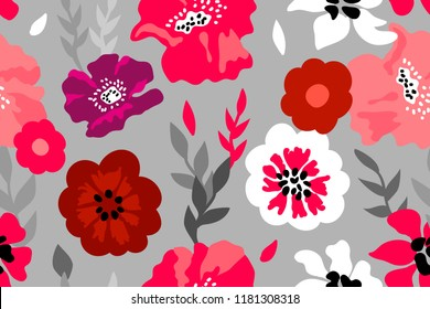 Red, pink and purple floral composition. Seamless vector pattern with large flowers and leaves inspired by 1950s design. On grey background.