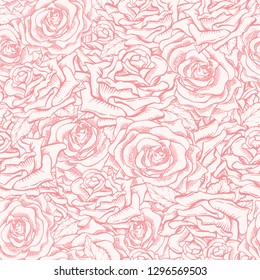 Red or Pink Roses Seamless Pattern with Sketch Hand Drawn Flowers for Valentines Day Gift Paper or Card Design. Engraved Freehand Rose. Floral Pattern