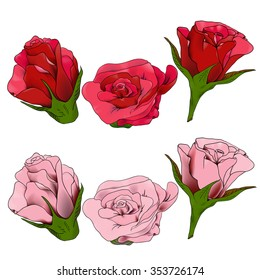 Red and pink roses, vector comic style