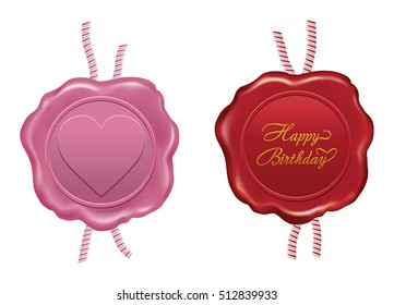 red and pink wax seal design on white background