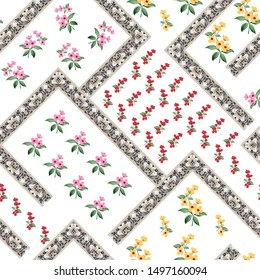 red pink and yellow small flowers with bandanna background