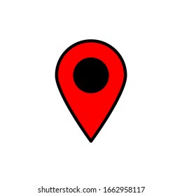 red pinpoint icon. map location symbol isolated on white background. vector illustration