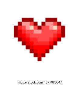 Red Pixel Heart Design. Vector Shape Isolated On White Background. Realistic Shade Colors. Vector EPS 10