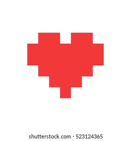 Red Pixel Heart Vector Icon