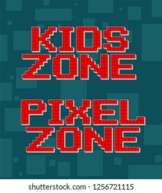 Red pixel retro different texts for video games web design. Kids zone. Navigation buttons. On gray background with square. Vector icons set.