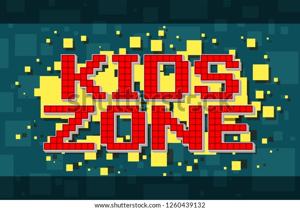 Red Pixel Retro Kids Zone Button Stock Vector Royalty Free 1260439132