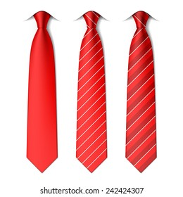 Red plain and striped ties. Vector.