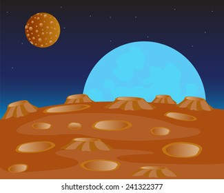 Red planet and her fcompanion in outer spaces