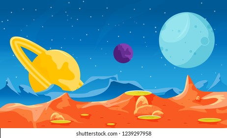 Red planet landscape with  a view to other beautiful planets