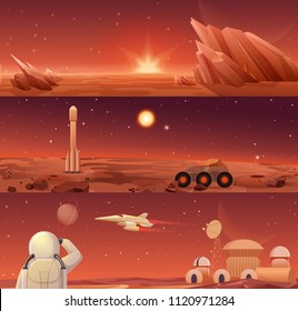 Red planet Mars colonization and exploration. Galaxy Mars landascape with rover, rocket shuttle, spacecraft and colony city base with astronaut horisontal templates banners.