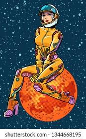 red planet Mars sexy beautiful woman astronaut. Pop art retro vector illustration kitsch vintage