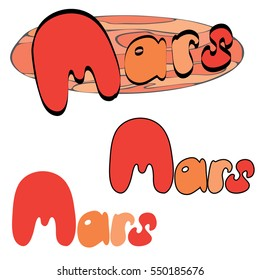 Red planet Mars in the space with stars and shuttles. Hand drawn illustration.
