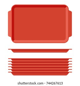 Red plastic blank food tray set with handles. Rectangular kitchen salvers isolated on white background. Plastic tray for canteen illustration, top view plate rectangle stack. Vector illustration