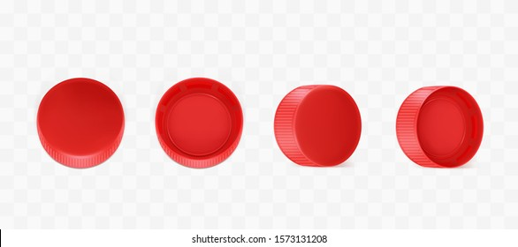 Red plastic bottle caps from different sides view. Vector realistic mockup with pet screw lids for pack of mineral water, soda, beer isolated on transparent background