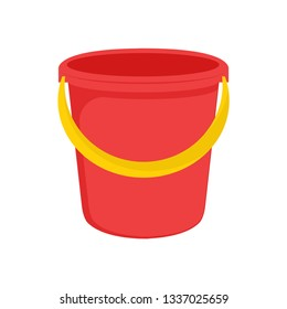 Red plastic bucket with a yellow handle. Isolated white background. A bucketful for washing food, water and drink. Household chores pail. Vector illustration. EPS 10.