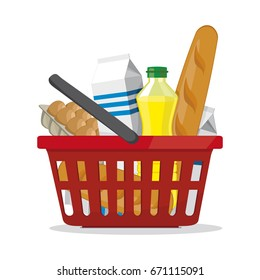 Red plastic shopping basket full of products. Grocery store. vector illustration on white.