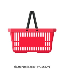 Red plastic shopping basket. vector illustration in flat style