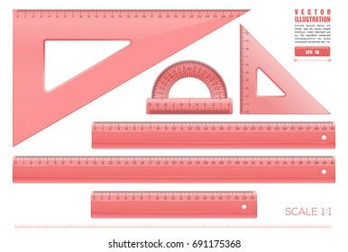 Red plastic transparent measuring rulers set. Triangle rulers, measuring rulers of different sizes and protractor. Collection of millimeter rulers in a scale of 1 to 1. Realistic vector illustration