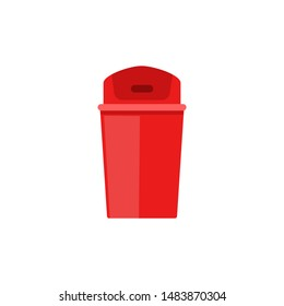 Red plastic trash can with closed flap lid - flat isolated wastebasket icon on white background. Simple colorful empty garbage bin vector illustration.