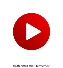 Red play button icon. Youtube icon.