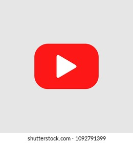 Red play vector logo. Red button video player Social media YouTube.