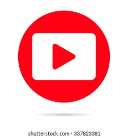 Red Player icon isolated on background. Modern flat pictogram, business, marketing, internet concept. Trendy Simple youtube vector symbol for web site design or button to mobile app Logo illustration.