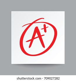 Red A plus grade symbol, Illustration vector on white square paper with real shadow.