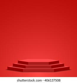 Red podium. Pedestal. Scene. Vector illustration.