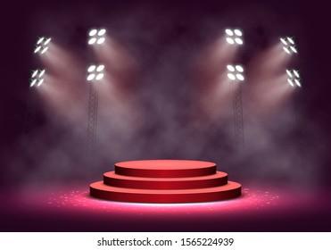 Rotes Podium mit Rauch, beleuchtet durch Scheinwerfer. Leeres Grundstück für die Preisverleihung. Vektorillustration.
