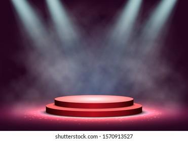 Red podium with smoke on dark background. Empty pedestal for award ceremony. Platform illuminated by spotlights. Vector illustration.