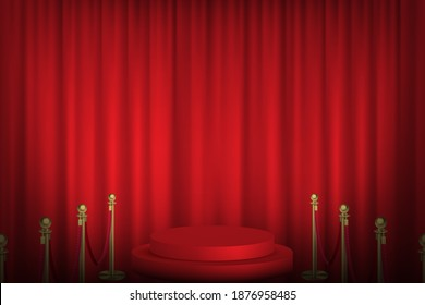 Red podium with stanchions leading, curtain in background. Award hall of fame vector illustration. Hollywood movies ceremony event. Realistic scene with fence and stage indoor.